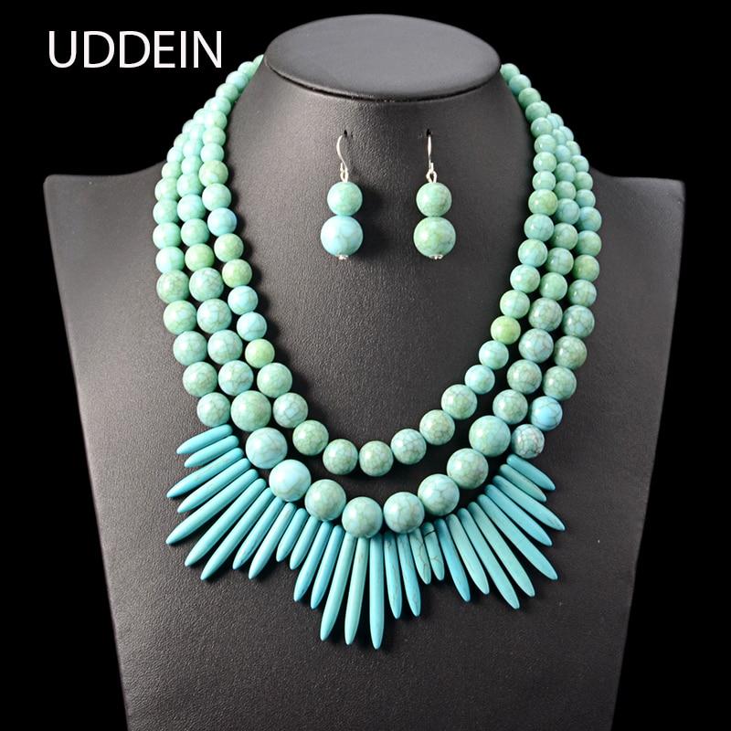 0e24fc5e3265 Conjunto de joyería de cuentas africanas UDDEIN cuentas múltiples babero collar  de declaración colgante de diamantes de imitación borla accesorios de Boda  ...