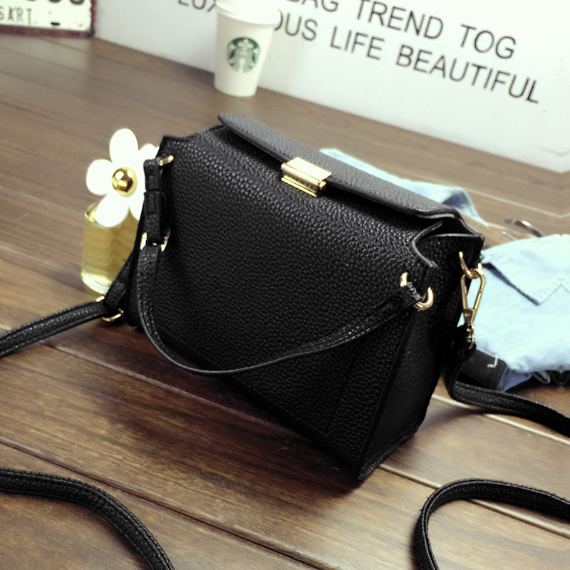 Fashion Push Lock Women Messenger Bags High Quality PU Leather Litchi Stria Shoulder  Bag Small Crossbody Bags for Women Bolsa-in Crossbody Bags from Luggage ... 2d89ea70b37e0