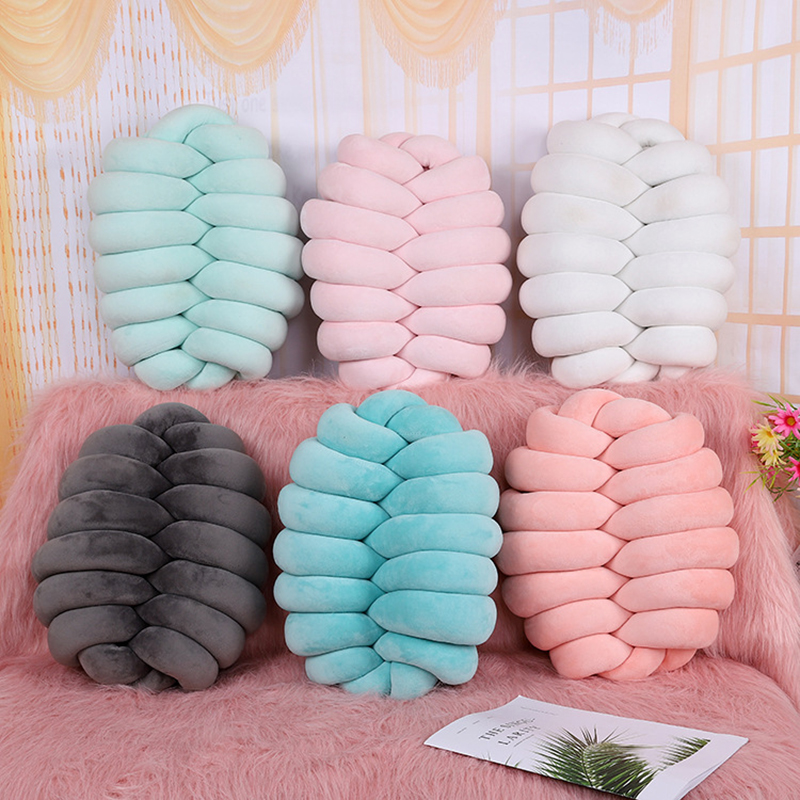 The handmade cojines decorativos para sofa Knot pillow coussin Nordic Style Velvet Knot Ball Cushion Pillow Bedroom Decoration