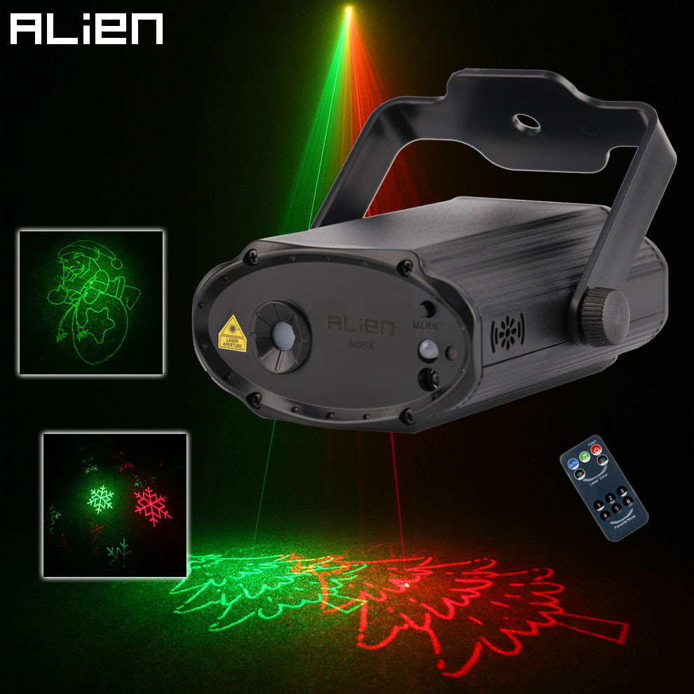 ALIEN Remote Mini RG 8 Patterns Christmas Laser Projector DJ Disco Dance Xmas Party Bar Stage Lighting Effect Decoration Lights