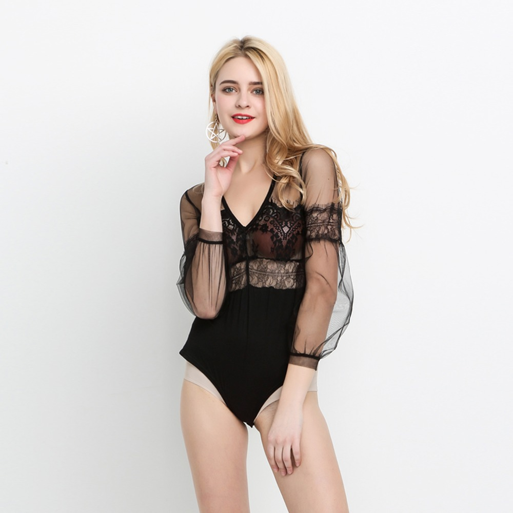 Women Fashion Sexy Retro Lantern Long Sleeve Perspective Elegant Mesh Cloth Lace Patchwork Bodysuits Rompers Bodycon Jumpsuit