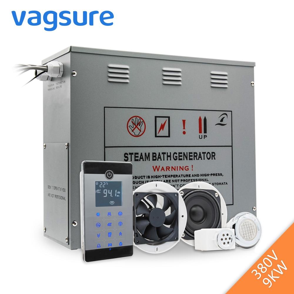 9KW/380V Brass Auto Drain Shower Steam Generator Wet Steam Sauna Accessories bluetooth Spa Bath Ozone Sterilizer For Steam Room цена