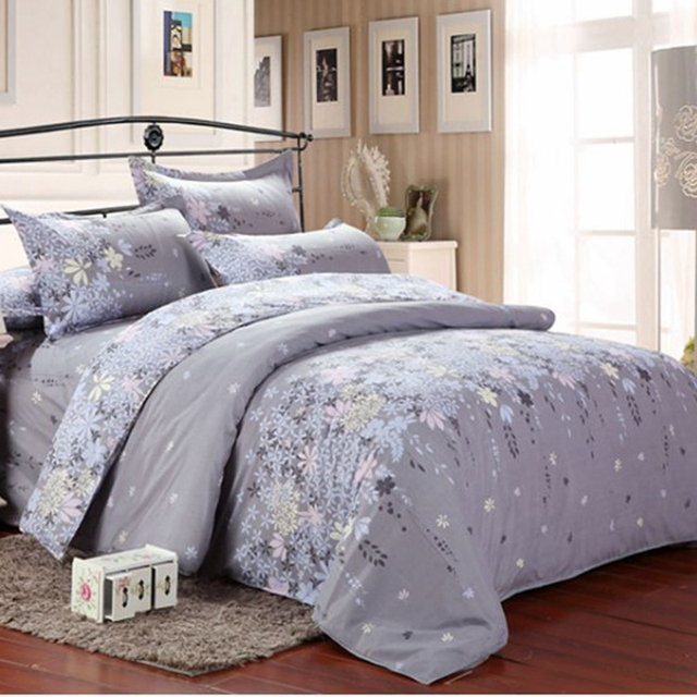 USA Europe Russian Size Bedding set,2/3Pcs Nordic Duvet Cover Set ,4-7 Pcs Bed Linens Sheet Set,Bedclothes Grey Flowers