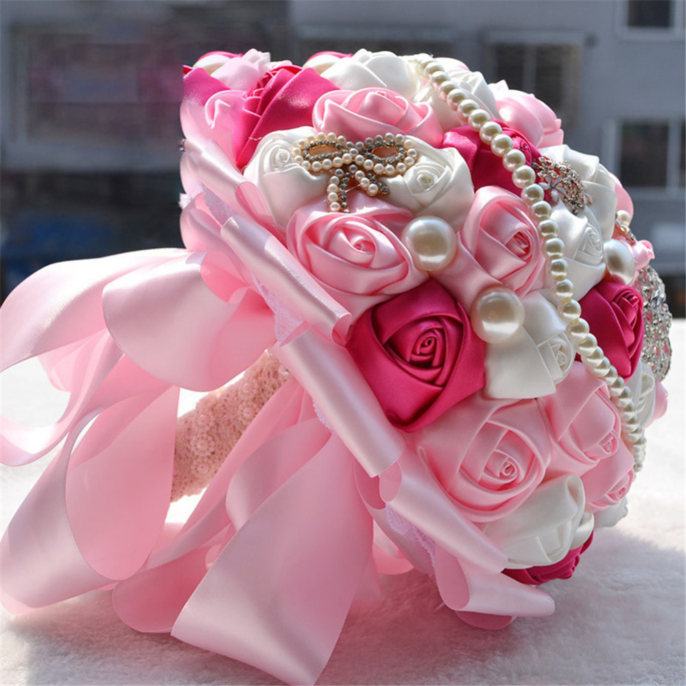 Wedding Romantic Bride Hand Held Flowers Bridal Bouquets Silk Roses