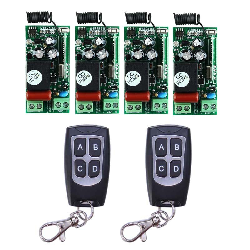 AC220V 1CH 10A Wireless Remote Control Relay Switch System 4 Receiver& 2 Transmitter Light Lamp LED SMD ON OFF 315Mhz/433.92Mhz ac 220 v 1 ch wireless remote control switch system 4x transmitter with 2 buttons 1 x receiver light lamp ledon off 315 433mhz