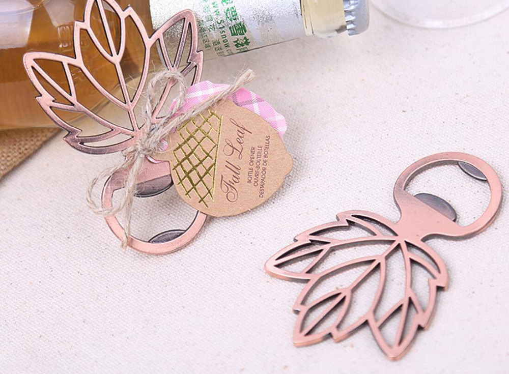 lastest fashion new bronze alloy metal Fall Leaf beer bottle opener summer on beach for Wedding Party Favor decor Gift