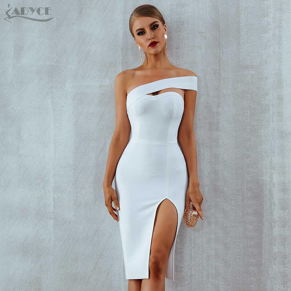 2553576100e ... Adyce Bodycon Bandage Dress Women Vestidos Verano 2019 Summer Sexy  Elegant White Black One Shoulder Midi ...