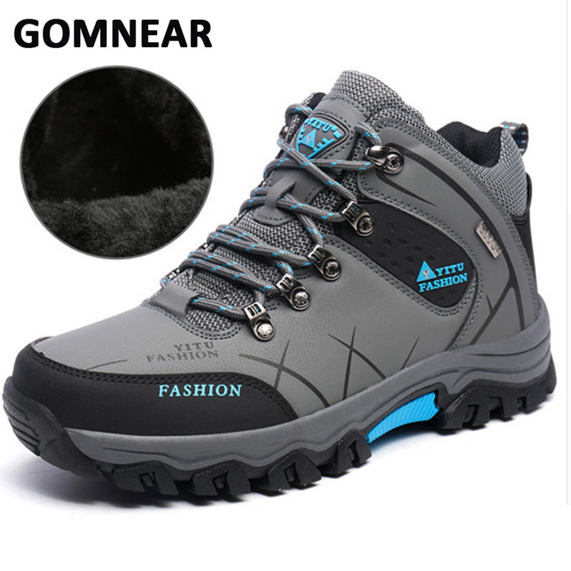 GOMNEAR Winter Warm Breathable Hiking Boots Mountain Climbing Hiking Shoes Men Non slip Snow Hunting Trekking