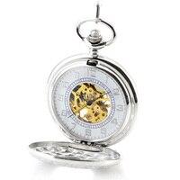 Luxury Brand Pocket Watch Fashion Silver Skeleton Mechanical Hand Wind Pocket Watches Men Women Chain Necklace Fob Watch