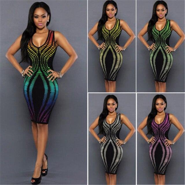 cbe2aebb7 Sexy mujeres verano vendaje vestido nuevo estilo Rainbow color bodycon  evening party corto Vestidos Venta caliente