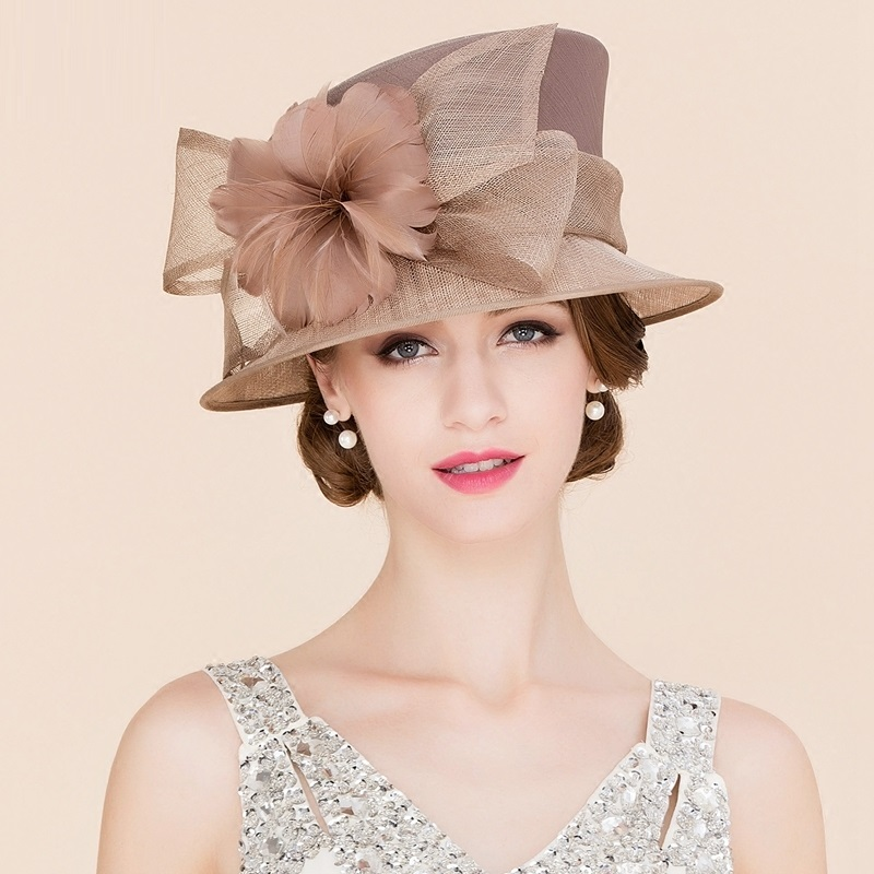Women Elegant Linen Wedding Hats Wide Brim Women Brown Summer Floral Cap Feather Kentucky Derby Ladies