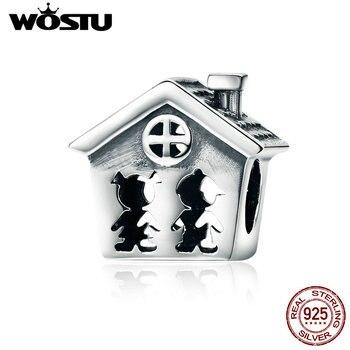 Wostu Otentik 925 Sterling Silver Kesempurnaan Sweet Home Keluarga Bersama Selamanya Pesona Manik-manik Cocok Pesona Gelang Hadiah CQC541