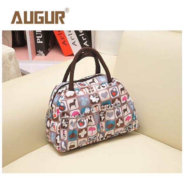 AUGUR Brand New Fashion Cartoon Lady Women Handbags Lunch Box Animal Prints Candy Color Waterproof Makeup Bags BGAP02