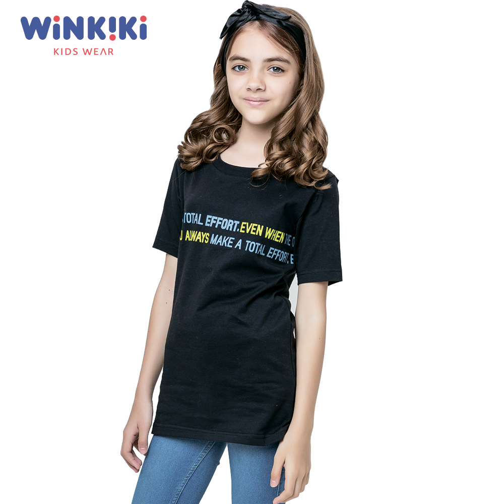 T-Shirts WINKIKI WSG91471 T-shirt kids children clothing Cotton Black Girls Casual shein kiddie white cartoon print casual t shirt toddler girl tops 2019 spring fashion short sleeve girls shirts kids tee