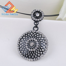 free shipping! Necklace, fashion jewelry, zinc alloy, cable chain, hollow electrophoresis black Alloy Pendant yulaili free shipping high quality fashion star design zinc alloy ladies four pieces jewelry sets