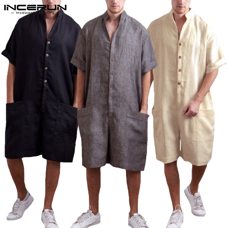 Mens Summer Short Sleeve Button Romper Casual Solid Loose Baggy Shorts Jumpsuit