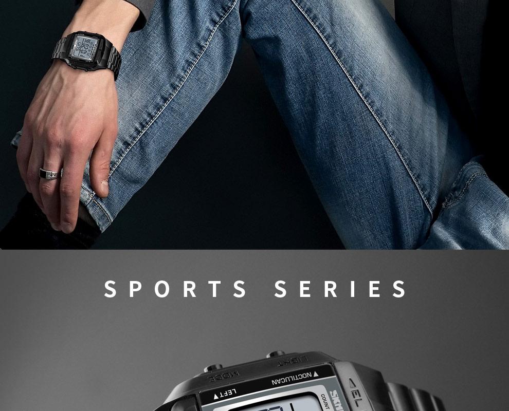 SKMEI Sports Watch Men Digital Watch Alarm Clock Countdown Watch Large Dial Glass Mirror Clock Fashion Outdoor Relogio Masculino 14