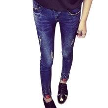 Зимний Бархат Высокого Ждать Друг Skinny Jeans Женщины Рваные Джинсы Губы Вышивка Брюки Женские Джинсовые Брюки Карандаш Плюс Размер XXXXL