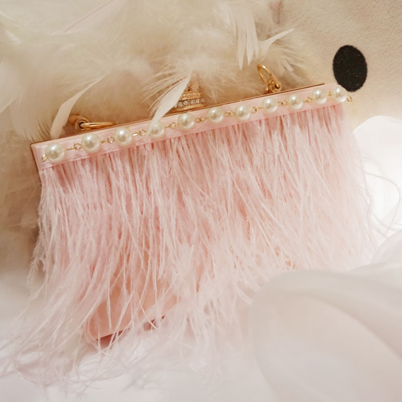 New acrylic pearl bag hand holding female bag tassel feather dinner package bride bag oblique cross small square bag