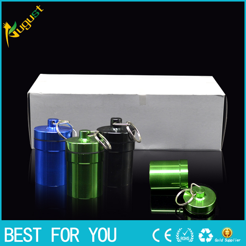 100pcs/lot key holder Aluminum Waterproof Pill Shaped Box Bottle Holder Container llaver ...