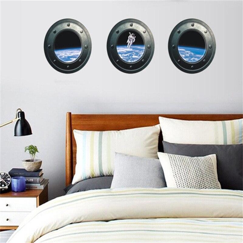 3Pcs/Set 3D Submarine Space Astronaut Wall Sticker Chidren Room Bedroom Living Room DIY Wall Decal