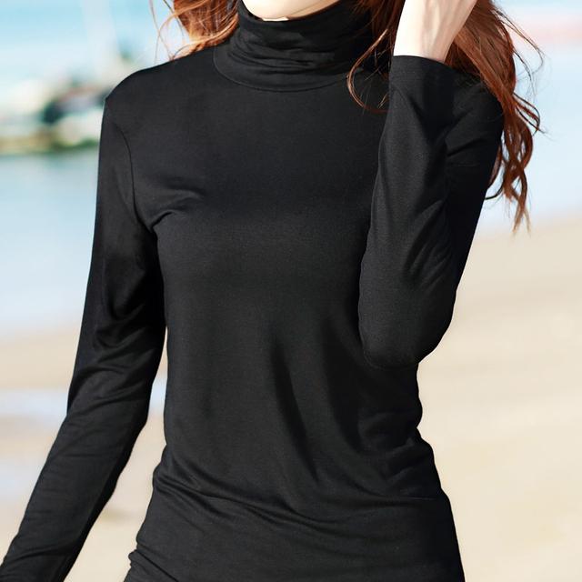 De cuello alto de manga larga camisa femenina camiseta básica delgada 2016 del otoño del suéter de las mujeres más el tamaño