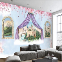 Fantasy castle childrens room background wall professional design wallpaper murals custom photo wholesale