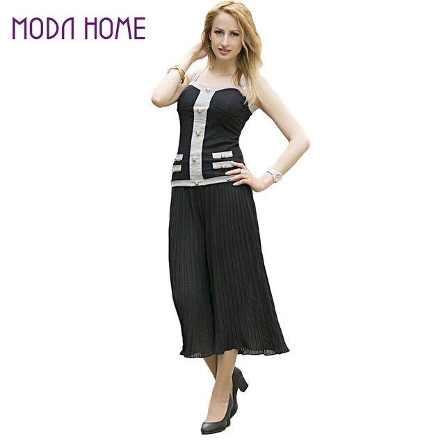 Nuevas mujeres Pantalones anchos gasa plisada cintura elástica capris Flare  cropped Pantalones culottes negro 2a8cc7b04e64