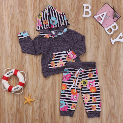 2PCS Toddler Baby Girls Floral Clothing Hoodie Tops + Long Pants Leggings Set Kid Winter Cotton Clothes Outfits