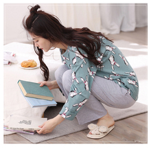 2017 Autumn And Winter Pure Cotton Long-sleeve Women's Sleep Set Pullover Print Loose Lounge