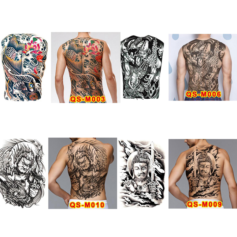 1sheet Large Tattoo Stickers New Designs Fish Ghost Buddha