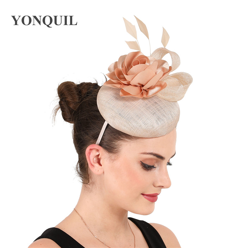 High Quality 4-layer Sinamay Rose Color Fascinators Gorgeous Hat Headband Wedding Women Millinery Occasion Headpiece With Flower