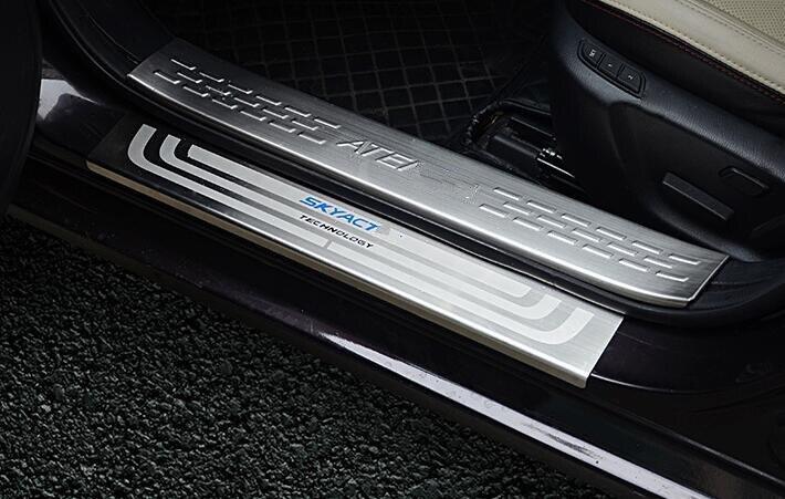 Higher star stainless steel 8pcs(4 internal+4 external)car door sills scuff footplate,guard plate For Mazda 6 Atenza 2014-2017 sports car door sill scuff plate guard sills for 2014 mazda 6 atenza m6