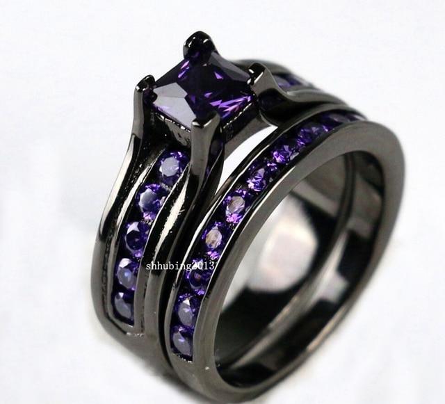 Black Gold Filled Princess 5mm 1ct Purple Zircon Womens Wedding