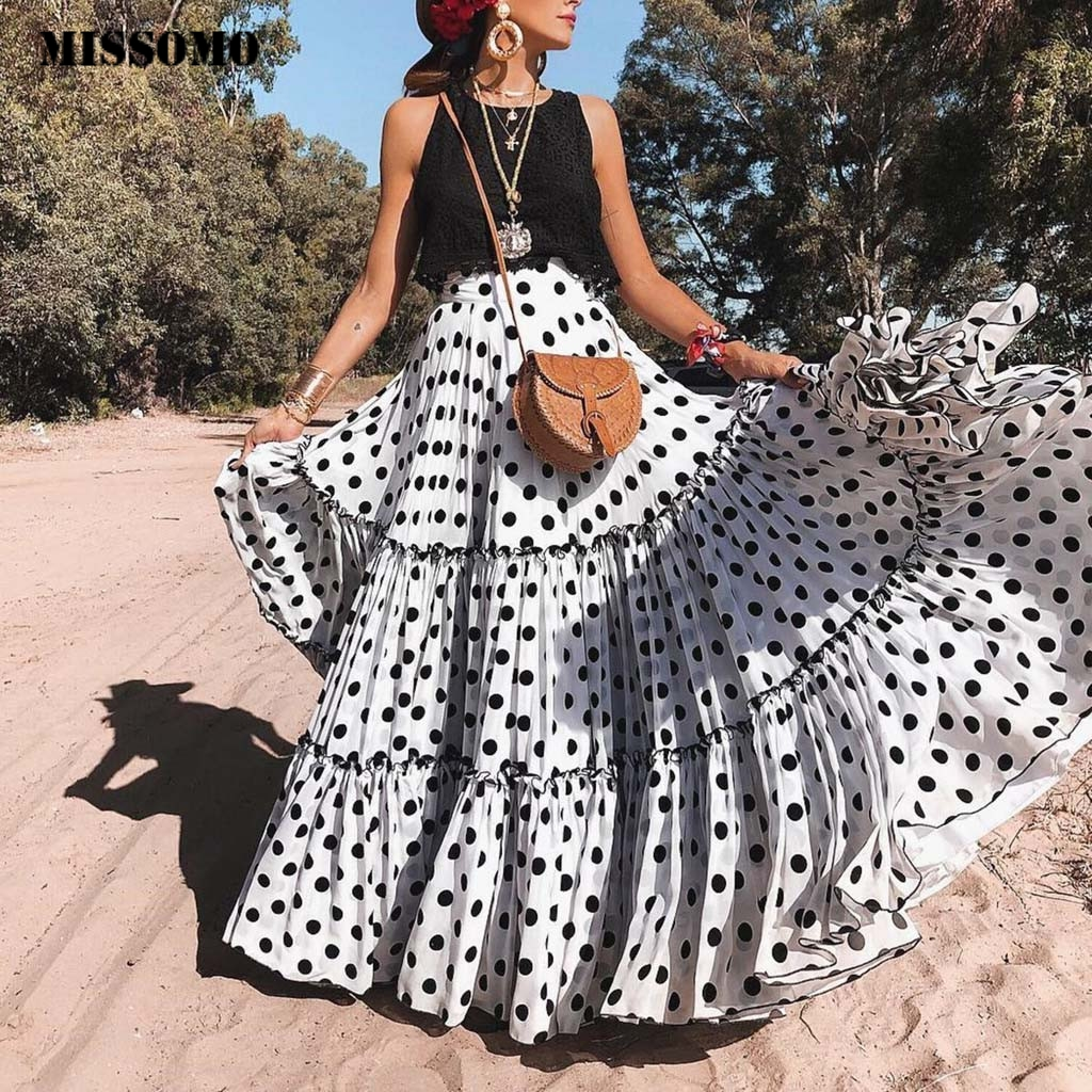 MISSOMO Polka Dot Skirts Womens Maxi Skirt Women Layered Skirts 2019 High Waist Summer Maxi Long Skirt Pleated Beach Jupe Femme