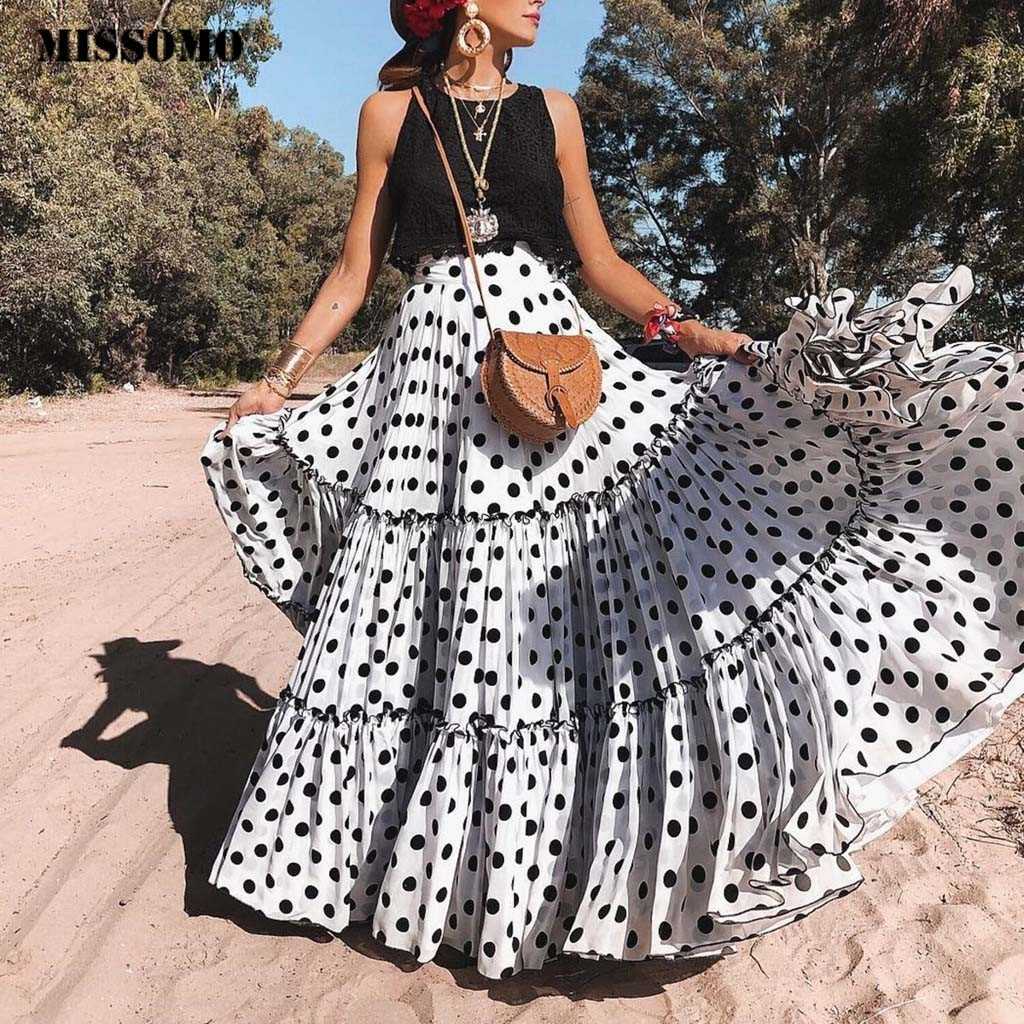 Missomo ポルカドットスカートレディースマキシスカート女性スカート 2019 ハイウエスト夏マキシロングスカートプリーツビーチペチコートファム