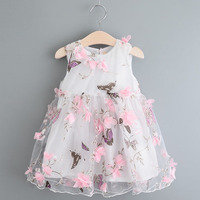 2017girl Birthday Dress Floral Butterfly Dress Girl Summer Casual Chiffon Sleeveless Vest Princess Clothes
