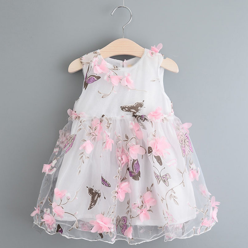2017 Girls Dress Summer Floral Butterfly Loose Casual ...