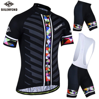 SIILENYOND Summer Cycling Jersey 3D Gel Padded Cycling Suit Jersey Sets Bike Shorts Breathable Cycling Clothing