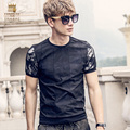 FanZhuan Free Shipping New Fashion Men's 2017 spring male casual grid O neck black printed slim T shirt short sleeve 715057
