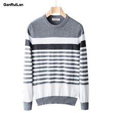 2019 Autumn Winter Striped Sweater Mens Brand Casual Gray Male Sweater O-Neck Slim Fit Knitting Men Sweaters Pullovers B0324 autumn fashion brand casual sweater o neck striped slim fit mens sweaters pullovers men pull homme contrast color knitwear