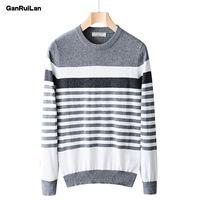 2019 Autumn Winter Striped Sweater Mens Brand Casual Gray Male Sweater O Neck Slim Fit Knitting Men Sweaters Pullovers B0324