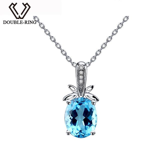 DOUBLE-R Natural Blue Topaz Pingente Mulheres 925 Sterling Silver Colares & Pingentes Romântico Jóias Finas Personalizado CAP02439A
