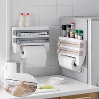Kitchen Paper Holder Hanger Tissue Roll Towel Season Plastic Wrap Rack Bathroom Door Wall Hanging Cosmetic Storage Holder Rack