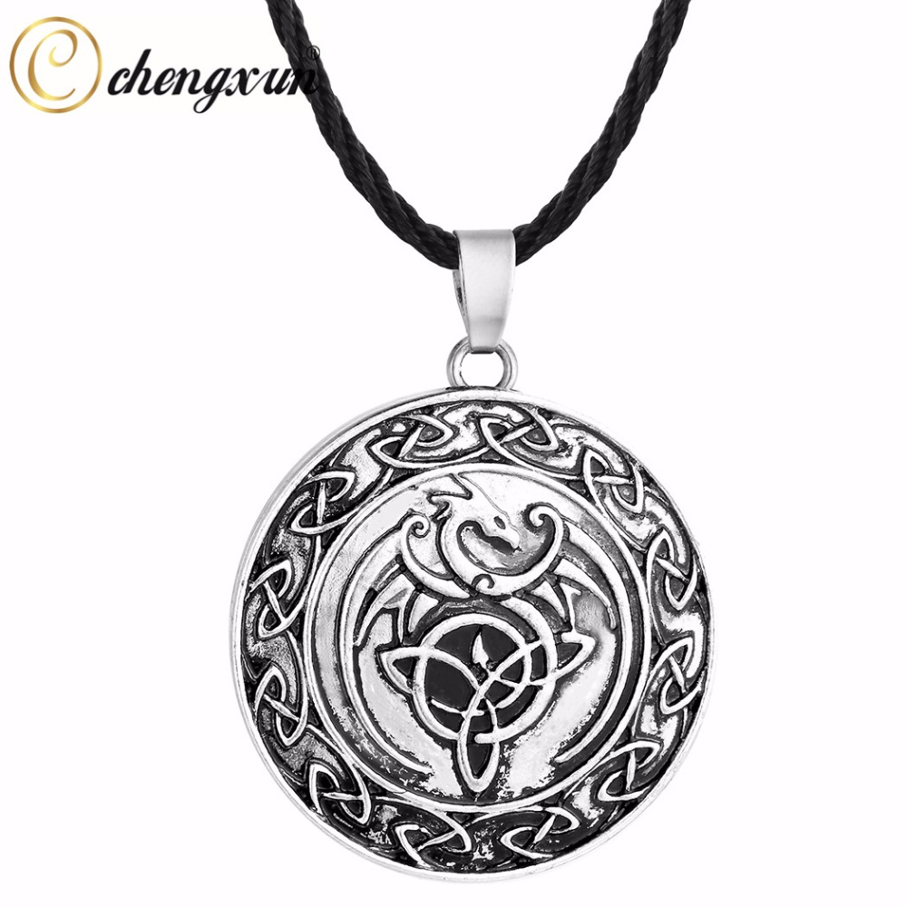 Dragon black simulated diamond vintage silver style soft gothic pendant necklace