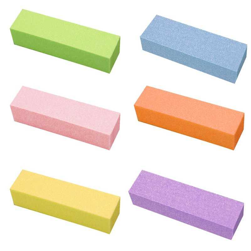 2018 Creative Tofu Blok Gepolijst Strips Op Alle Zijden Gepolijst Nagelvijl 6 Kleur Goede Kwaliteit slijtvaste Manicure molen