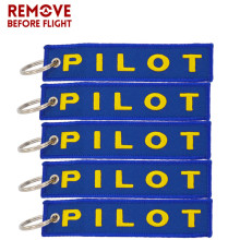 2017 Hot Sell Festival Aviation Gifts 5 PCS Pilot Key Ring Blue and Yellow OEM Keyfob Jewel Embroidery Keychain For Bag Charm