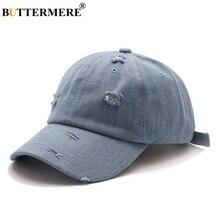 BUTTERMERE Blue Baseball Cap Men Women Washed Denim Adjustable Hat Hip Hop Solid Embroidery Brand Spring Summer Fashion