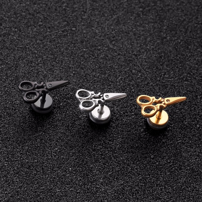 Scissors earrings woman man fashion jewelry cool ear piercing ear stud  1 pair