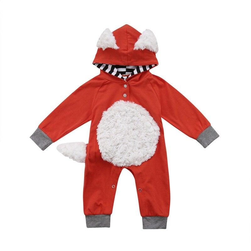Bebé recién nacido Kid Fox Romper Jumpsuit traje bebé ropa de algodón con capucha mameluco largo de la manga de los mamelucos